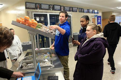 Students chose items from the Breakfast Cart at Southside High School