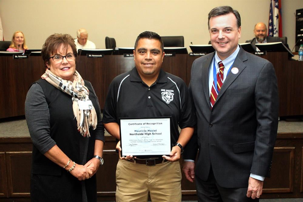 School Board President, Coach Maciel and Superintendent of Schools