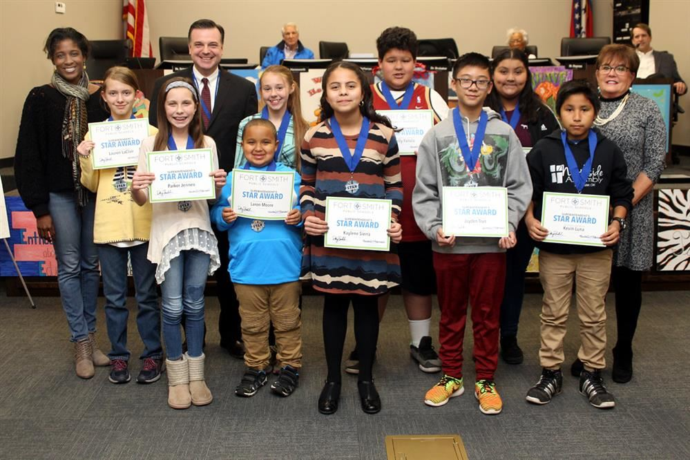 January Superintendent Stars and School Board members.