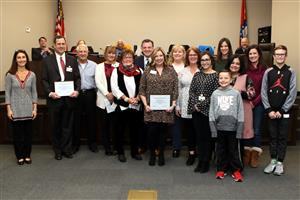 Chaffin Junior High and Woods Elementary students, staff and FSPS School Board members