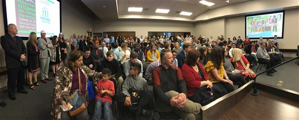 photo of full crowd at the March 26, 2018, Fort Smith Public Schools Board of Education Meeting