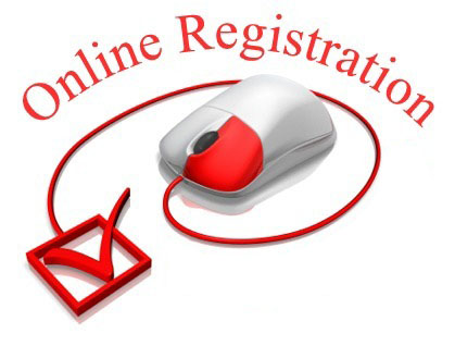 On-line registration clip art.