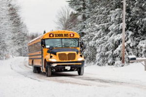 snowy school bus